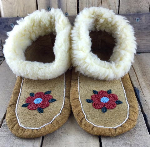 Red and Blue Beaded Flowers on Hand Tanned Moose Hide Slippers with Wool Trim