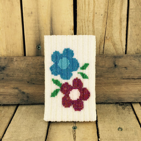 Blue and Red Flower Beaded iPhone 5 Case with Belt Clip