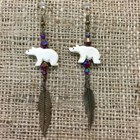 Polar Bear Earrings with Bronze Feather