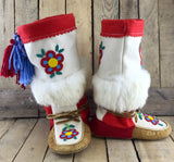 Red and Blue Beaded Flowers Moose Hide and Stroud Mukluks with White Rabbit Fur