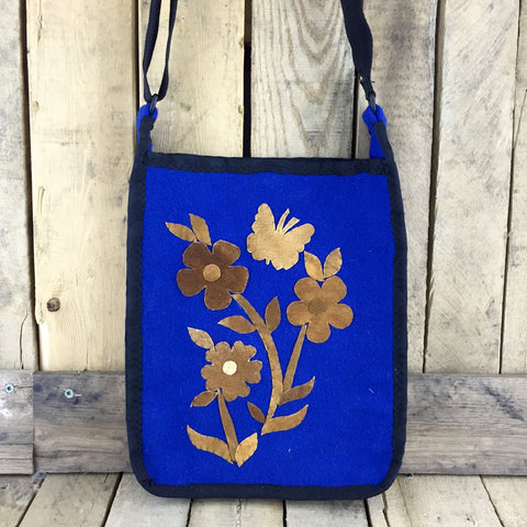 Blue Stroud Purse with Caribou Hide Flower Design