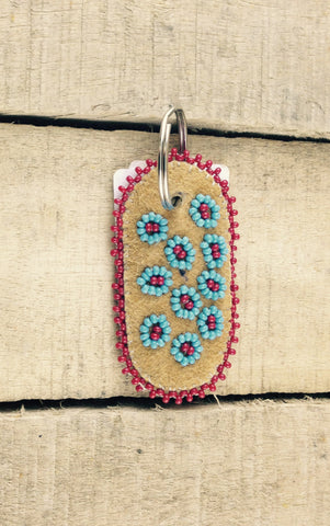 Blue and Red Flower Beadwork on Hand Tanned Moose Hide Keychain