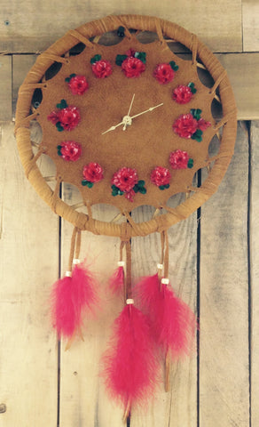 Pink Fish Scale Art Wall Clock on Factory Tanned Moose Hide