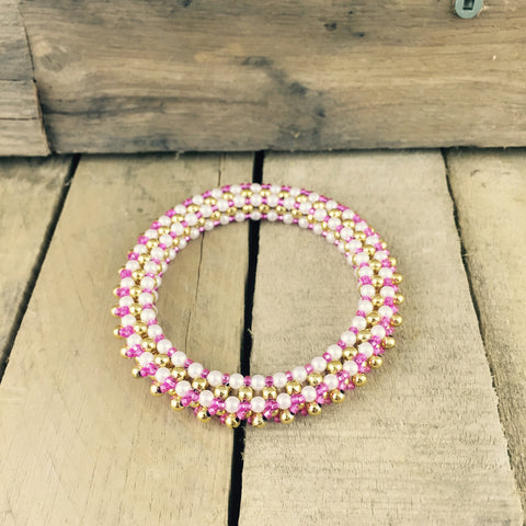 Pink/Gold Beaded Bangle