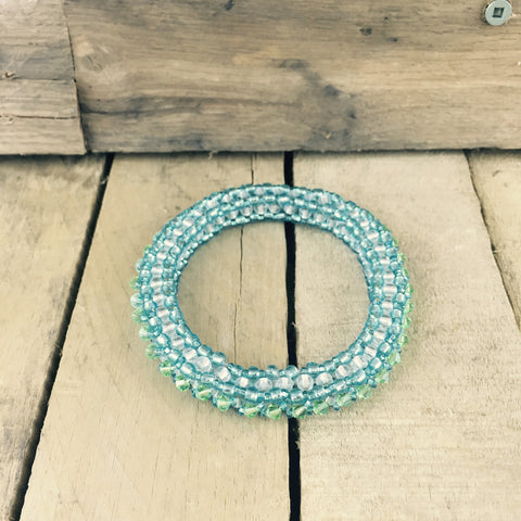 Light Blue and Green Beaded Bangle