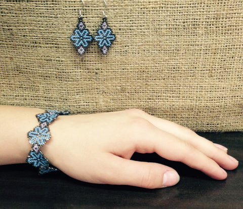 Grey and Blue Beaded Earring and Bracelet Set