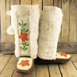 Orange Flowers Beaded on Moosehide Mukluks with Faux Rabbit Fur