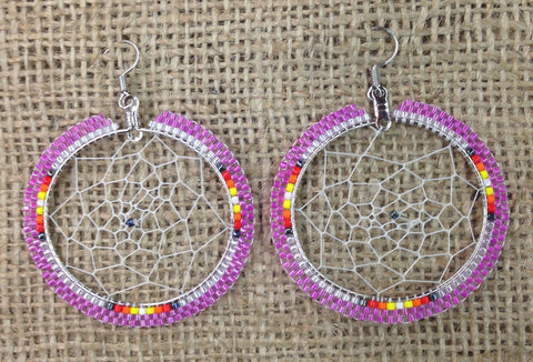 Pink Beaded Hoop Dreamcatcher Earrings