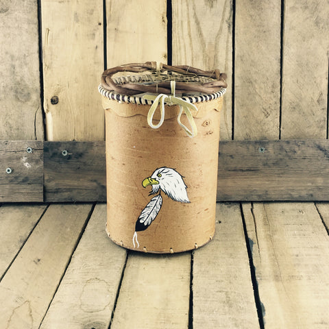 Birch Bark Basket with Eagle and Feather Painting