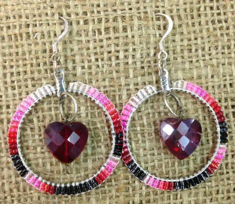 Pink Beaded Hoop Earrings with Heart Gem