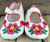 Pink Embroidered Flowers on White Stroud Slippers