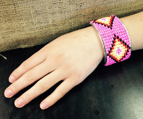 Pink Beaded Cuff Bracelet with Multi-colour Diamond Design