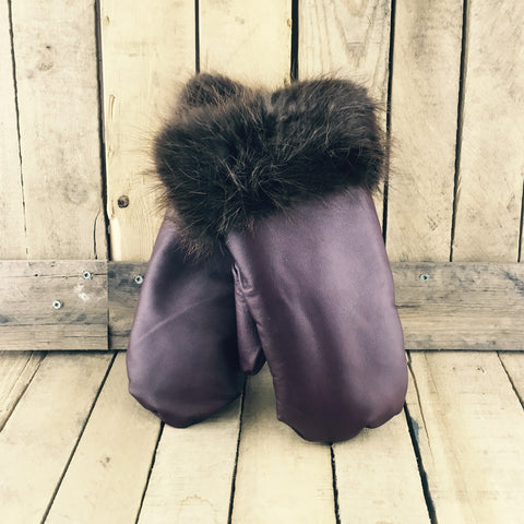 Burgundy Leather Mitts with BeaverFur