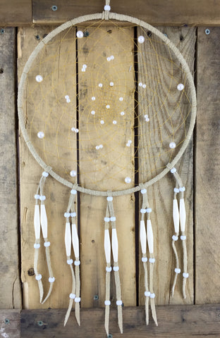 Pearl/White Beaded Tan Leather Dreamcatcher