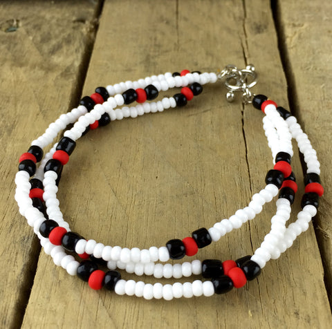 White Beaded Three Strand Bracelet