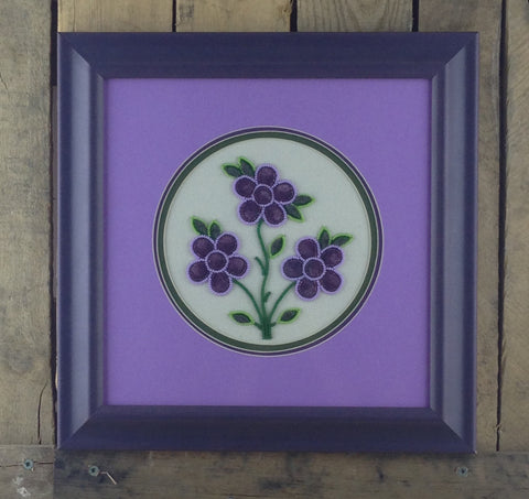 Purple Flower Design Moose/Caribou Tufting