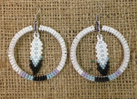 White Beaded Hoop Earrings with Beaded Feather