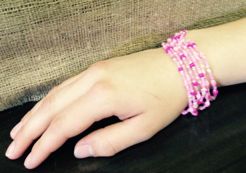 Pink Fully Beaded Multi-String Bracelet