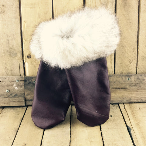 Burgundy Leather Mitts with Silver Fox Fur