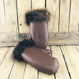 Brown Leather Mitts with Beaver Fur