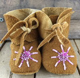 Pink Star Beaded on Hand Tanned Moose Hide Wrap Arounds