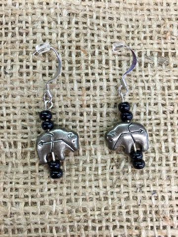 Silver Buffalo Beaded Earrings