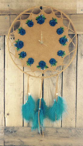 Blue Fish Scale Art Wall Clock on Factory Tanned Moose Hide