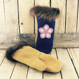 Pink Beaded Flower on Purple Stroud and Moosehide Mitts with Beaver Fur