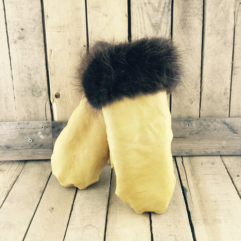 Tanned Leather Mitts with Beaver Fur