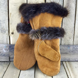 Red/Gold/Green Beaded Factory Hide Mitts with Beaver Fur Trim