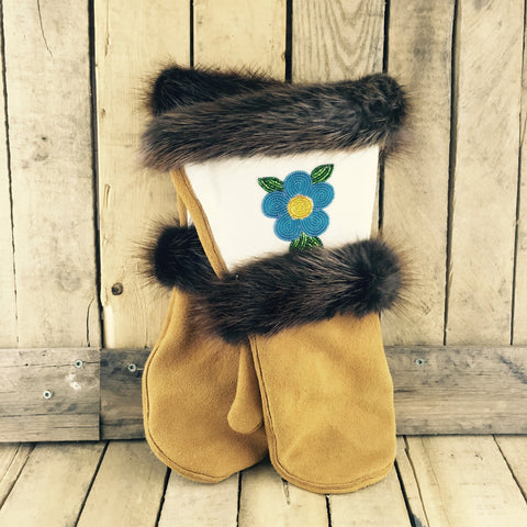 Blue/Yellow/Green Beaded Factory Hide Mitts with Beaver Fur Trim