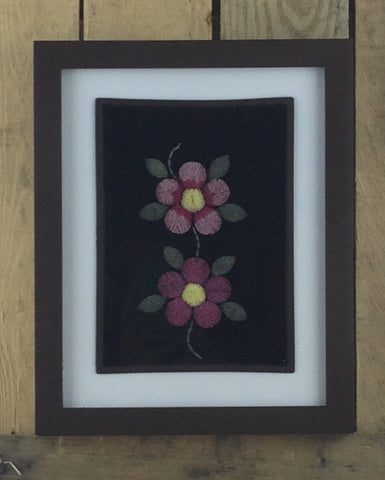 Red and Yellow Flower Design Moose Hair Tufting with Black Background in White Matting in Black Frame