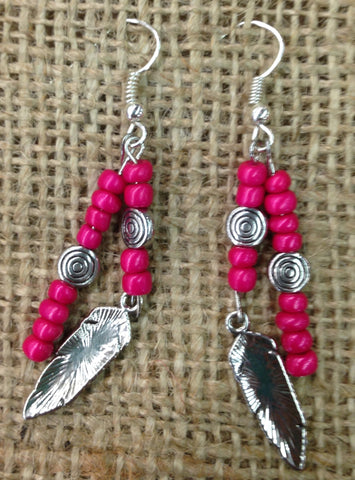 Hot Pink Beaded Earrings with Feather Pendant