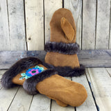 Pink/Blue/Green Beaded Factory Hide Mitts with Beaver Fur Trim