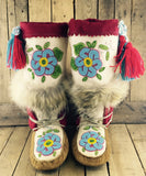 Beaded Hand Tanned Moose Hide and Stroud Mukluks with Lynx Fur