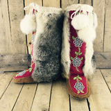 Beaded  Hand Tanned Moose Hide and Stroud Mukluks with Rabbit Fur