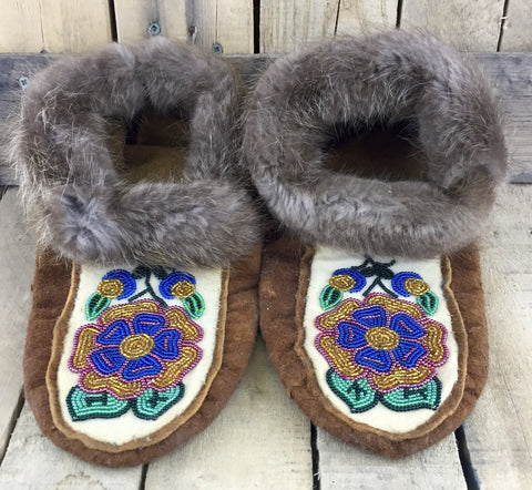 Blue/Gold/Red/Green Beaded Moose-hide Slippers with Flower Design and Beaver Fur