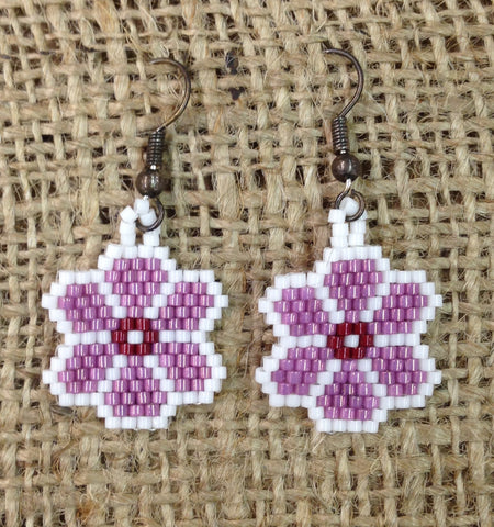 Pink and White Flower Beaded Earrings