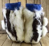 Yellow and White Beaded Flowers on Hand Tanned Moose Hide and Blue Stroud Mukluks with Rabbit Fur