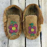 Pink Beaded Moose-Hide Slippers
