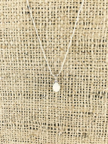 "Oval Moonstone and Tanzanite Necklace 18"" Set in Sterling Silver"