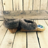 Blue Beaded Flower on Hand Tanned Moose Hide Slippers with Beaver Fur
