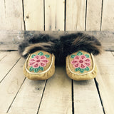 Pink/Red Beaded Flower on Moose Hide Slippers with Beaver Fur