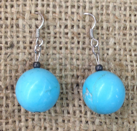 Synthetic Turquoise Round Earrings