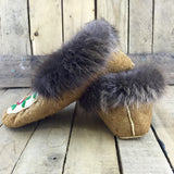 Pink/Red/Green/Purple Beaded Moose-Hide Slippers with Beaver Fur