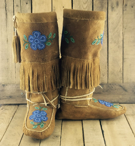 Blue Beaded Flowers on Hand Tanned Moose Hide Mukluks with Fringe