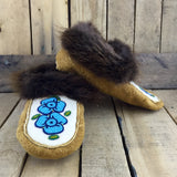 Blue Flower Beaded Moose Hide Slippers with Beaver Fur