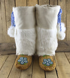 Hand Tanned Moose Hide Mukluks with Rabbit Fur