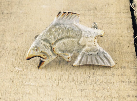 Fish Carving in Moose Antler Pin
