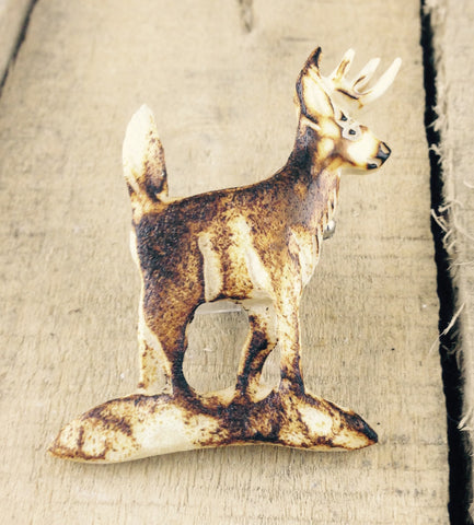 Deer Carving in Moose Antler Pin